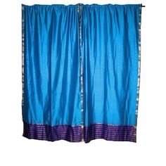 Amazon.com: 2 India Curtains Royal Blue Art silk Sari Curtains Drapes Panels Window Dressing 83 Inch: Home & Kitchen$49.99