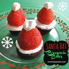Holiday Treats: Santa Hat Brownie Bites