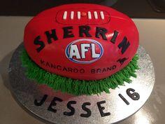 Football Cake made for Jesse's 16th Birthday #AFL #football #cake