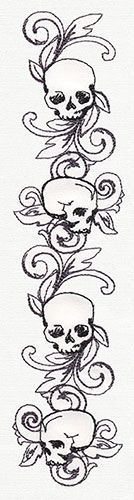 Toile Noir - Skull Border Vertical | Urban Threads: Unique and Awesome Embroidery Designs