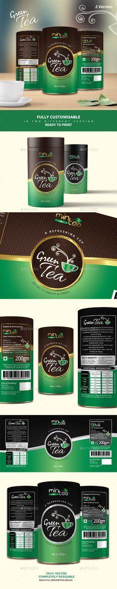 Green Tea Packaging Design Template Vector EPS, AI Illustrator