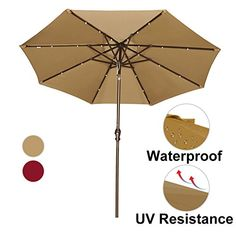 Abba Patio 9u0027 Patio Umbrella With Solar Powered 24 LED Lights Market Outdoor  Umbrella With