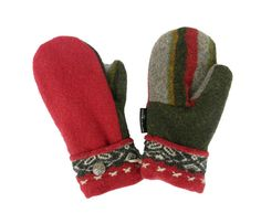 Red Army Green Gray WOOL MITTENS Women's Mittens by SweatyMitts