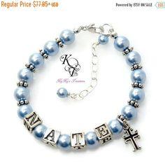 Baby Boy Baptism Bracelet, Personalized Baby Boy Gift, Blue Bracelet, Boy…