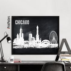 Chicago print Chicago chalkboard skyline poster by iPrintPosters