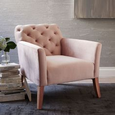 Lustre velvet armchair in blush pink - the colour of the winter season. Both feminine and stylish!