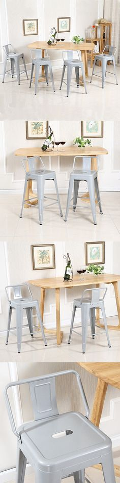 Bar Stools 153928: Set Of 4Pc Counter Height Stool With Low Backrest Footrest Home Kitchen, Silver -> BUY IT NOW ONLY: $109.99 on eBay!