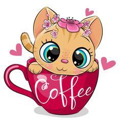 Cute Cartoon Boy, Kitten Cartoon, Cartoon Girl Images, Cartoon Kunst, Cartoon Art, Clipart, Baby Animals, Cute Animals, Coffee Cup Art