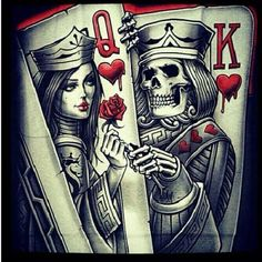 Poker tattoo, sleeve tattoos, queen of hearts tattoo, king queen tattoo Paar Tattoos, Tatuajes Tattoos, Neue Tattoos, Et Tattoo, Card Tattoo, Tattoo Drawings, Sketch Tattoo, Skull Tattoos, Sleeve Tattoos