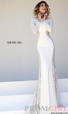 Floor Length Long Sleeve Prom Dress at PromGirl.com