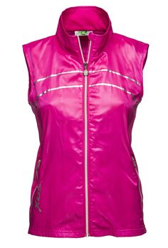 Jaylin Wind #Vest Hot Lips micro-light and wind pique vest with side seams for a feminine look in the seasons hottest color...Hot Lips. It's an excellent layer for those breezy #spring days. #golffashion