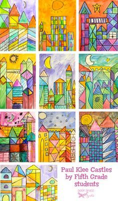 Introduce Klee's works and teach about warm and cool colors. Use watercolor paints, scraps of watercolor paper and a waterproof marker.