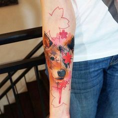 35 Most Attractive Wrist Tattoo Designs Animal Tattoos, Pet Tattoos, Space Tattoos, Tattoo Ink, Watercolor Fox, Watercolor Tattoos, Wolf, Free Tattoo Designs, Wrist Tattoos For Women