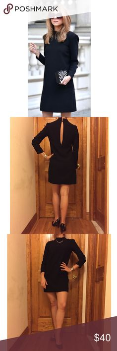 """Zara Black Mini Open Back Dress Size:S GREAT Zara Black Mini Open Back Dress Size:S Condition:GREAT // Bust:15"""" Length:32"""" // Material:100% Viscose // Fully lined // Comes with spare button // I ship same-day from pet/smoke-free home // 15% off on bundles // Zara Dresses Mini"""