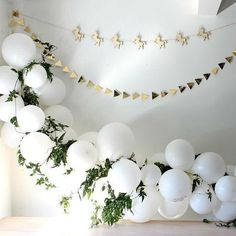 White Balloon Garland with Leaves