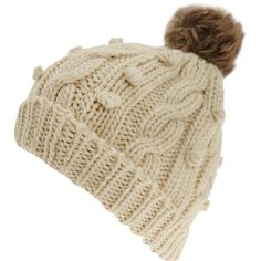 Oatmeal fur trim beanie hat ($21) ❤ liked on Polyvore