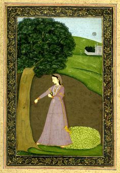 Vipralabhda Nayika. A lady casting off her ornaments under a tree, 1770 (circa) Pahari School ; Guler Style. Painted in: Panjab Hills; (Asia,Himalayas,Punjab Hills).