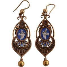 Antique micromosaic and gold 14k earrings