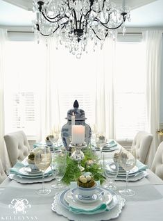 Blue and White Easter Table for Spring with World Market Linen Lydia Chairs