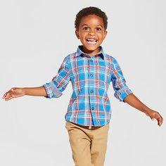 Toddler Boys' Button Down Shirt Cat & Jack™ - Blue & Orange Plaid
