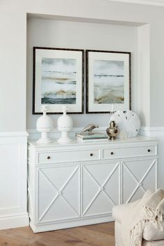 Coastal decor, beach art and furniture. You can improve the natural beauty in your home with splashes of white, as well as beach house decorating ideas. Decor, Furniture, Coastal Decor, Interior, Home, Beach House Decor, House Interior, House And Home Magazine, Hamptons Style Decor