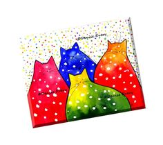 Colorful Abstract Cat Art Print Fiesta Polka-Dot Kitties Colorful Whimiscal Cats Cat Art Cat Lover Cat Gift Fun Cat Artwork Denise Every by ArtByDeniseEvery on Etsy https://www.etsy.com/listing/473679434/colorful-abstract-cat-art-print-fiesta