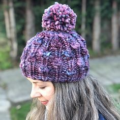 16c2115736f Beginners Swirl Pom Pom Hat Knitting Pattern Download   Easy+ ...