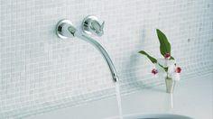 FALLING WATER®: - Washbasin mixer tap / wall-mounted / brass / bathroom by Kohler Brass Bathroom, Bathroom Sink Faucets, Bathroom Fixtures, Vanity Faucets, Bathroom Plumbing, Japanese Modern, Water Walls, Plumbing Fixtures, Mixer Taps