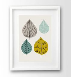 Leaves Illustration Printable art Mustard And by nanamiadesign