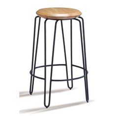 Otto Bar Stool 65 cm Black Frame With Natural Timber Seat