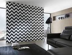 Chevron Tapete High Rise by Michalsky im Wohnzimmer Wallpaper Chevron, Brick Wallpaper, Modern Wallpaper, Designer Wallpaper, Wallpaper Designs, Beautiful Wallpaper, Apartment Decorating On A Budget, Interior Decorating, Chevron Accent Walls
