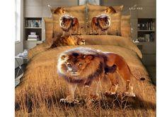 Vivilinen Lion on Grassland Printed Cotton Bedding Sets/Duvet Covers Cheap Bedding Sets, Cotton Bedding Sets, Bedding Sets Online, Linen Bedding, Bed Linen, Pink Comforter, Queen Size Bed Covers, Animal Print Bedding, Panda