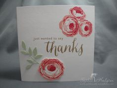 Thank you cards made using WMS 'Hello Happy Thanks' and 'Old Country Roses' stamps.
