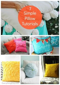 7 Simple Pillow Sewing Tutorials - I have to try the pom pom pillow! #sewing #pillows #DIY