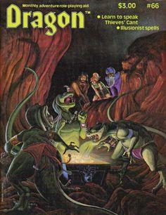 Three lizardmen find a great treasure, as three adventurers find them. (Paul Sonju, Dragon magazine No. 66, TSR, October 1982.)