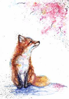 Fox and Blossom, #spring,#fox,#flowers,#brown,#pink,#blossom https://www.etsy.com/uk/shop/BebesArts Watercolor Fox, Watercolour Painting, Cute Animal Drawings, Cute Drawings, Fox Drawing, Cute Art, Pretty Art, Fox Art, Fox Painting