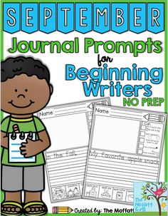 Journal Prompts for Beginning Writers for September!  This packet includes 20…