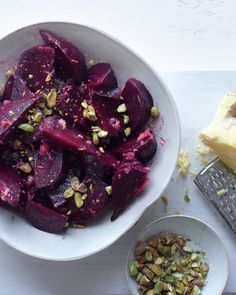 Beet Salad with Ginger Dressing..  I used sliced almonds since I didn't have pistachios. Still quite good! :-)