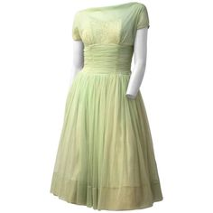 50s Pale Green Chiffon Party Dress | From a collection of rare vintage aesthetic-evening-dresses at https://www.1stdibs.com/fashion/clothing/evening-dresses/aesthetic-evening-dresses/