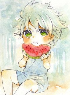 Hitsugaya Toushirou | Bleach  Kid loves his watermelon!