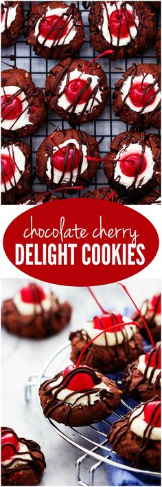 Chocolate Cherry Delight Cookies - All of the things that you love about a chocolate covered cherry in a delicious cookie! A chocolate cherry coconut cookie filled with vanilla frosting topped with a cherry and drizzled in chocolate!