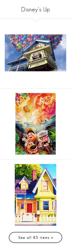 """""""Disney's Up"""" by liz-wade ❤ liked on Polyvore featuring cartoons, pictures, up, backgrounds, disney, home, home decor, stationery, wall art and disney home decor"""