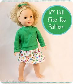 """Dressing Up Dolly: 18"""" Doll Free Tee Pattern - Peek-a-Boo Pattern Shop: The Blog"""