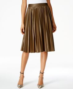 Grace Elements Faux-Leather Pleated Skirt