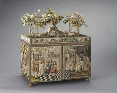 """1660-1690 English Stumpwork casket at the Royal Collection, UK - From the curators' comments: """"Embroidered caskets decorated with raised or stumpwork were produced in England in considerable numbers in the period 1660-90 by young girls, almost invariably amateurs, practising their needlework skills.""""  Click the pin to access a picture of this casket when it is opened."""