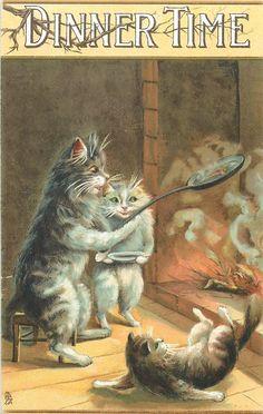 DINNER TIME - Vintage postcard by M. Boulanger (unsigned) - 1908