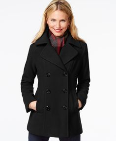 London Fog Double-Breasted Peacoat with Plaid Scarf poly/wool/acrylic red, charcoal, black szS 29L 79.99 Sale thru 11/28