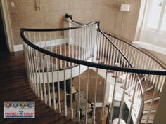 A baby gate and Lexan combo used on this beautiful staircase. Safe Baby Childproofing Services provides safety solutions that never detract from your unique home aesthetics.