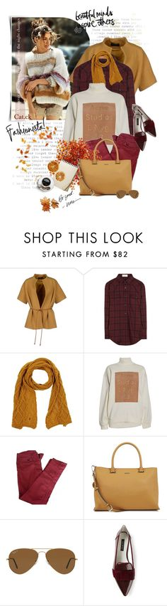 """""""Oversized sweater"""" by ts-alex ❤ liked on Polyvore featuring Piazza Sempione, Yves Saint Laurent, Galliano, Acne Studios, Sandro, DKNY, Ray-Ban, Senso, flats and oversizedsweater"""