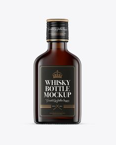 Amber Glass Whiskey Bottle Mockup – Front View
